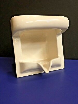 Vintage Recessed Porcelain Soap Dish w/ Grab Bar & Drain Spout Gloss Off-White