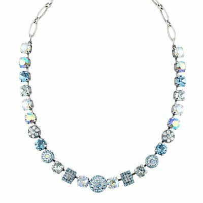 """Mariana """"Italian Ice"""" Silver Plated Crystal Circle and Rectangle Necklace, 18"""""""