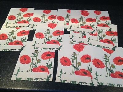 LOOK DECORATIVE POPPY GUMMED BOOKPLATES APPROX 16 In BOX