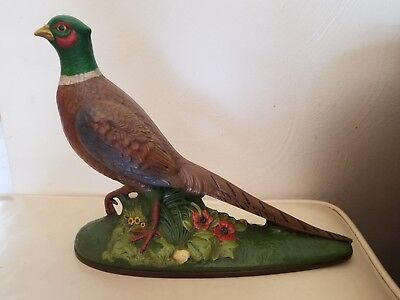 1977 Holland Mold Ceramic Pheasant. Hand Painted. Dated 1977.