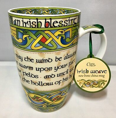 Irish Blessing Bone China Cup or Mug, Irish Weave from Clara