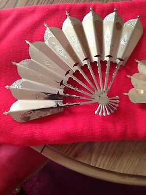 """Set Of 2 Home Interiors Gold Metal Fan Wall Hanging Plaques -13"""" X 9"""" & 10"""" X 7"""""""
