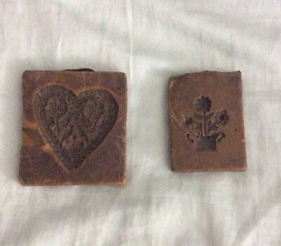 Two Vintage Hand Carved Wax Butter Block Molds Possible German
