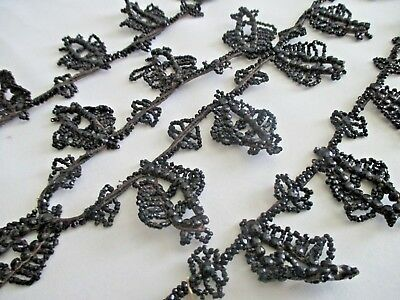 Antique Real VICTORIAN Jet Black Glass Bead Lace Trim Hand Made 46 in. Length