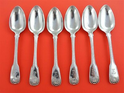 ELEY FEARN CHAWNER 6 Silver FIDDLE THREAD & SHELL TABLE SPOONS, London 1810 560g
