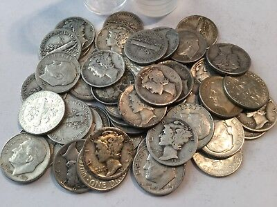 Mercury and Roosevelt Dime 90% Silver Roll of 50 Coins $5 Face Circulated #08
