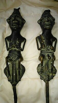 African dogon totenic figures male female 19-20th century Brass