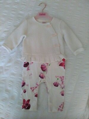 Ted baker white an floral all in one suit size 9/12 months