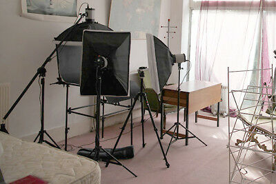 entry level studio flash lighting set with table