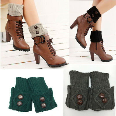 Fall Winter Women Girls Boots Shoe Short Socks Wool knitted Warmers With Button