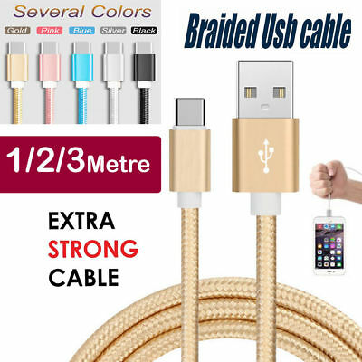 Braided USB Type C Data Phone mobile Charger Cable Lead for Samsung android