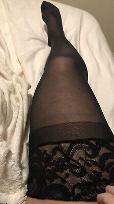 Used Black Nylons Thigh High Oops There's A Hole In My Stocking