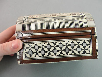 Handmade Indian Micro Mosiac Trinket Box Chest Mother Of Pearl Inlay Vintage Old