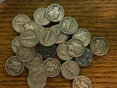 Silver Winged Liberty Mercury Head Dime Lot Of 25