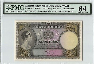 Luxembourg ND (1944) P-46a PMG Choice UNC 64 50 Francs