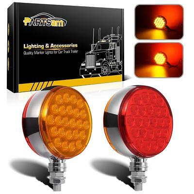 """Set/2 Red/Amber 4"""" Round Dual Face Stud Pearl 48 LED Pedestal Lights w/Reflector"""