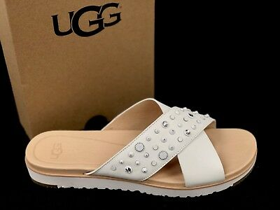 386185bec00 UGG AUSTRALIA KARI Studded Bling White LEATHER IMPRINT SLIDE SANDALS 1090241