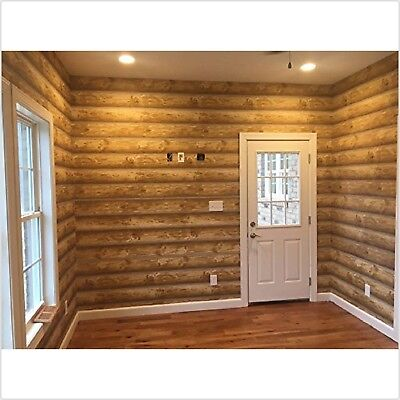 Log Cabin Wallpaper Prepasted Double Roll 27 x 324 inch Light Medium Brown Wall