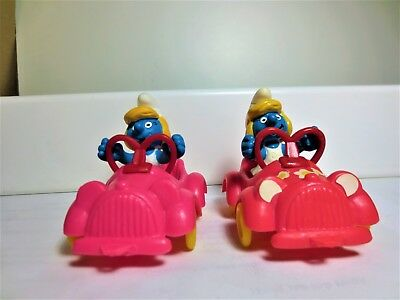 "Very rare smurfette cars ""hell-rosa"" both mint condition super smurf items #153"