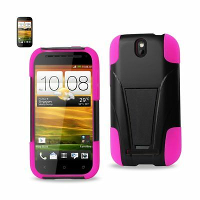 Reiko Htc One Sv Hybrid Heavy Duty Case With Kickstand In Black Hot Pink