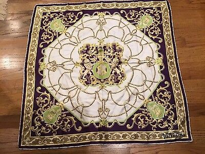 """Vintage Valentina Designer Silk Scarf Hand Rolled Edges 30"""" Square Made In Italy"""