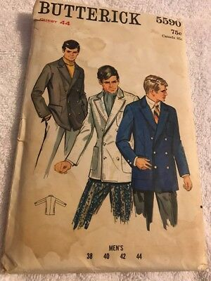 Vtg Butterick Sewing Pattern Men's Double Breasted Jacket Uncut 1960's Size 44