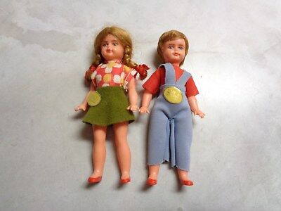 "Cute West Germany Miniature Dollhouse 4"" Girl & Boy Jointed Hard Plastic Dolls"
