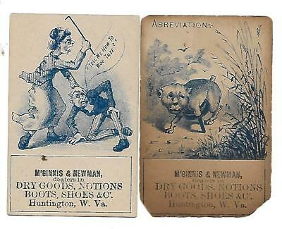 2 M'ginnis & Newman Dry Goods Boots Shoes Victorian Trade Cards Huntington W.va.