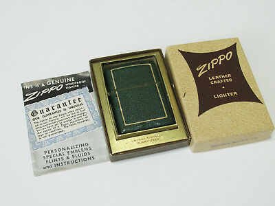 Zippo Vintage New Zippo Full Leather Crafted Morocco Green 1950-52, very rare