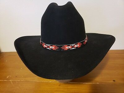 BEAUTIFUL Hand-Woven, Native American BEADED HAT/HEAD BAND~Red, Black, White