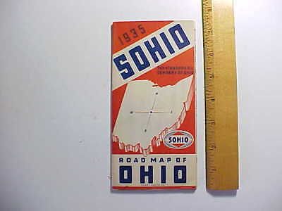 1935 SOHIO GAS STATION ROAD MAP FOR OHIO WITH PICTURES OF PUMPS & ATTENDANT Fine