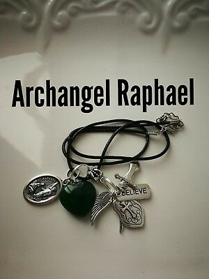 Code 395 Jade Archangel Raphael Infused Necklace Shield for Health Wrap up Sword