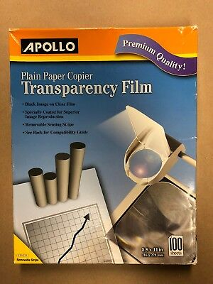 Apollo Copier Transparency Film NEW BOX 100 Sheets of Clear Film Item#PP201C