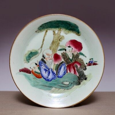 Chinese Porcelain Qing Dynasty DaoGuang Old Plate Colorful ShouXing Dish JZ474