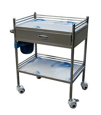 1x Stainless Steel 2 Layers Serving Medical Dental Lab Cart Trolley Portable BIN