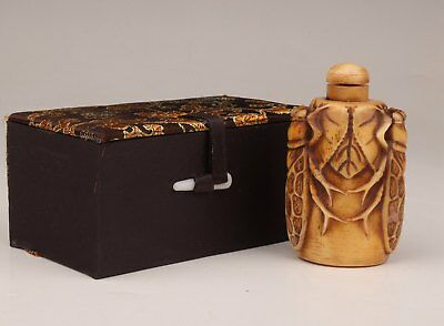 Valuable Yellow Cattle Bone Snuff Bottle Old Hand-Carved Cicada + Gift Box