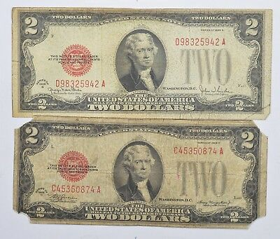 Lot (2) Red Seal $2.00 US 1928-D & G Notes - Currency Collection *264