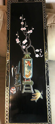 """Vintage Black Laquer Plaque Of """"A Vase Of Flowers With Pens"""""""