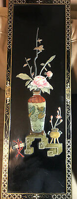 """Vintage Black Laquer Plaque Of """"A Vase Of Flowers With Scroll"""""""