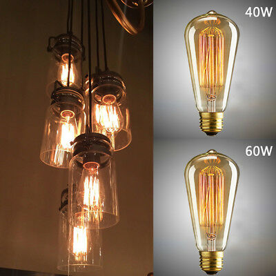 Filament Cage Industrial For Cafe E27 Retro Vintage Bulb Light St64 Edison Lamp