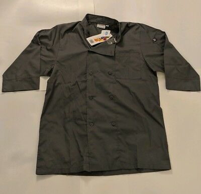 Chef Works Men's Essential 3/4 Sleeve Chef Coat (JLCL) Gray Medium New