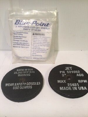 """Blue-Point and Jet 3"""" Abrasive Cut-Off Wheels x 11pcs AT150-20A Made In USA"""