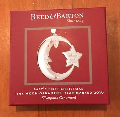 "Reed & Barton ""2016 Baby's First Christmas Pink Moon Ornament"" - New in Box"
