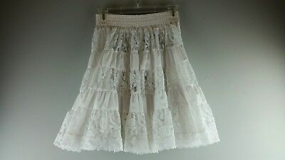 Vintage Square Up Fashions Womens White Lace Dancing Petticoat Skirt