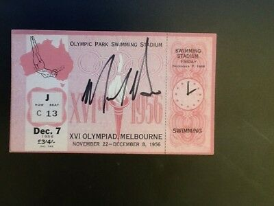 Melbourne Olympic Games 1956 Autographed Swimmimg Ticket Murray Rose.