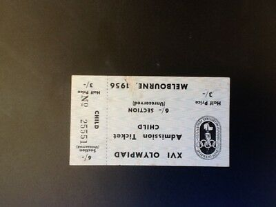 Melbourne Olympic Games 1956 Admission Ticket for Child Unreserved.