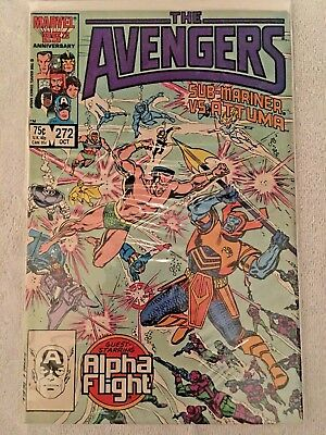 1986 Oct #272 The Avengers Copper Age Vintage Marvel Comic Sub-Mariner Vs Attuma