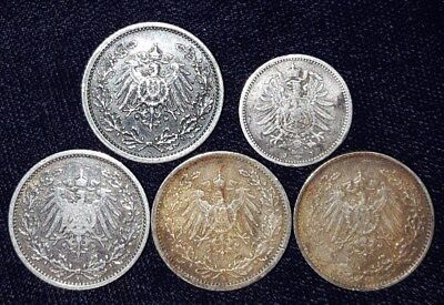5 Silver Coins from Germany.  1875-1916.  No Reserve!