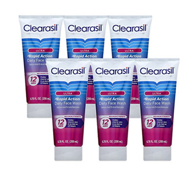 6x CLEARASIL Ultra Rapid Action Daily Face Wash ACNE MEDICATION Maximum STRENGTH