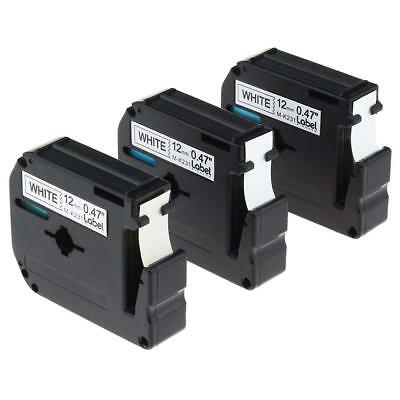 3PK M-K231 MK231 Label Tape Black on white Compatible Brother Ptouch Ribbon 12mm
